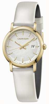 Calvin Klein | biały skórzany pasek | srebrna tarcza | K9H235L6