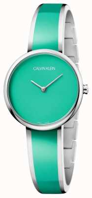Calvin Klein | uwodzenie kobiet zielona żywiczna bransoletka ze stali nierdzewnej | K4E2N11L