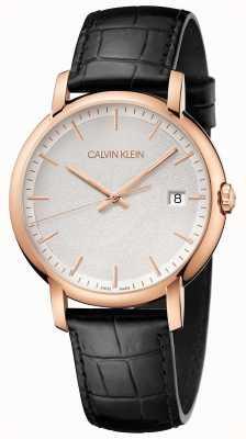 Calvin Klein | męskie minimalne | czarny skórzany pasek | biała tarcza | K9H216C6