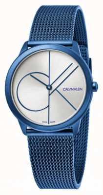 Calvin Klein Minimalna | niebieska bransoletka z siatki | srebrna tarcza | K3M52T56