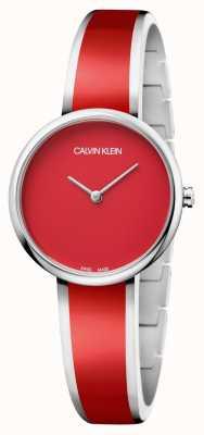 Calvin Klein | uwodzenie kobiet bransoleta z żywicy ze stali nierdzewnej w kolorze czerwonym | K4E2N11P