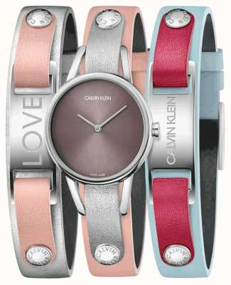 Calvin Klein | moje calvins | różowy skórzany pasek | zestaw zegarków i bransoletek | K9D231ZZ