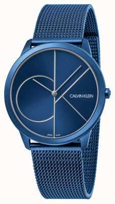 Calvin Klein Minimalna | niebieska bransoletka z siatki | niebieska tarcza | K3M51T5N