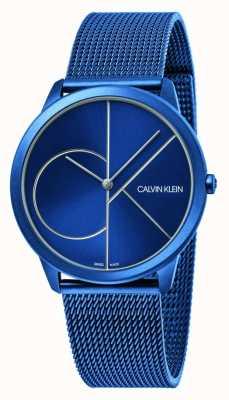 Calvin Klein Minimalna   niebieska bransoletka z siatki   niebieska tarcza   K3M51T5N