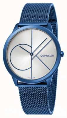 Calvin Klein Minimalna | niebieska bransoletka z siatki | srebrna tarcza | K3M51T56