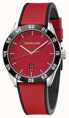 Calvin Klein | męski kompletny czerwony pasek gumowy | czerwona tarcza | K9R31CUP