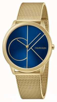 Calvin Klein Minimalna | złota bransoletka z siatki | niebieska tarcza | K3M5155N