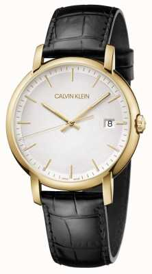 Calvin Klein | męskie minimalne | czarny skórzany pasek | biała tarcza | K9H215C6