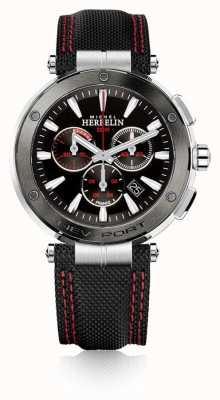 Michel Herbelin | męskie | newport | czerwony i czarny chronograf | nylon | 37688/AG44
