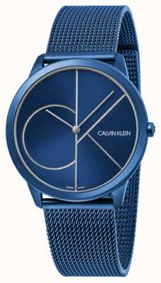 Calvin Klein | kobiety | minimalny | pasek z niebieskiej siatki | niebieska tarcza | K3M52T5N