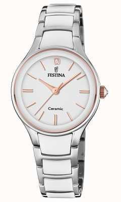 Festina | ceramika damska | srebrno-biała bransoletka | różowe złoto / biały F20474/2