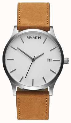 MVMT Klasyczna biała opalenizna brązowy skórzany pasek | biała tarcza D-L213.1L.331