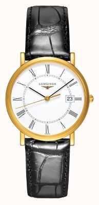 Longines Présence | 18-karatowe żółte złoto | 34 mm męskie | skórzany pasek L47776110