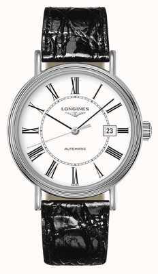 Longines Présence | szwajcarski automatyczny | czarna skóra | biała tarcza L49224112