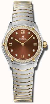 EBEL Sportowy klasyk damski | brązowa tarcza | zestaw diamentów | nierdzewny 1216443A