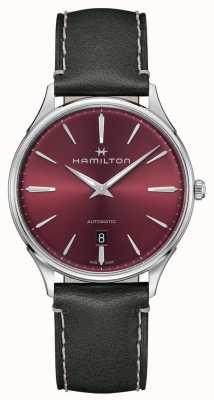 Hamilton Jazzmaster cienki | automatyczny | czerwona tarcza | szary pasek H38525771