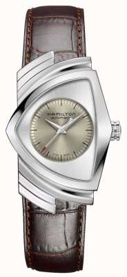 Hamilton | ventura automatyczna | brązowy skórzany pasek | srebrna tarcza | H24515581