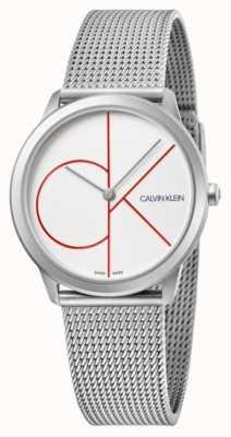 Calvin Klein | minimalna | bransoleta z siatki ze stali nierdzewnej | srebrna tarcza | K3M52152