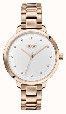HUGO #achieve | bransoletka ip w kolorze różowego złota | biała tarcza 1540037