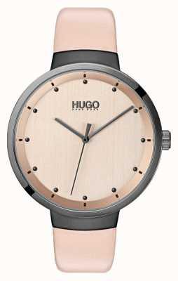HUGO #go | różowy skórzany pasek | tarcza z różowego złota 1540001