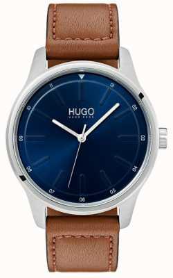 HUGO # wyzwanie | brązowy skórzany pasek | niebieska tarcza 1530029