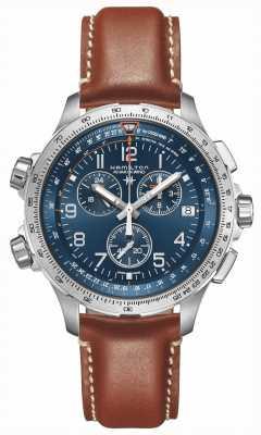 Hamilton | khaki aviation x-wind gmt | niebieska tarcza | brązowa skóra | H77922541