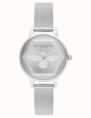 Olivia Burton | 3d zegarek charytatywny pszczół | srebrna bransoletka z siatki l OB16AM168