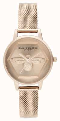 Olivia Burton | 3d zegarek charytatywny pszczół | bransoletka z różowego złota | OB16AM170