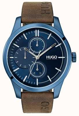 HUGO #discover | brązowy skórzany pasek | niebieska tarcza 1530083