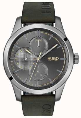 HUGO #discover | zielony skórzany pasek | szara tarcza 1530084