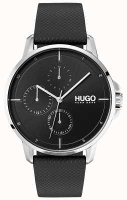 HUGO #focus | czarny skórzany pasek | czarna tarcza 1530022