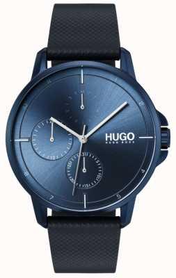 HUGO #focus | niebieski skórzany pasek | niebieska tarcza 1530033