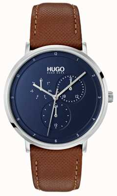 HUGO #guide | brązowy skórzany pasek | niebieska tarcza 1530032
