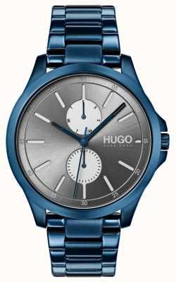 HUGO #jump | niebieska bransoletka ip | szara tarcza 1530006