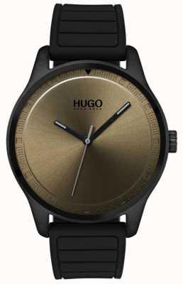 HUGO #move | czarny gumowy pasek | tarcza khaki 1530041