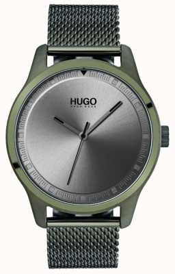 HUGO #move | zielona bransoletka z siatki ip | szara tarcza 1530046