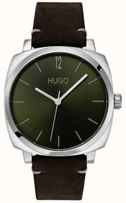 HUGO #own | czarny skórzany pasek | zielona tarcza 1530068