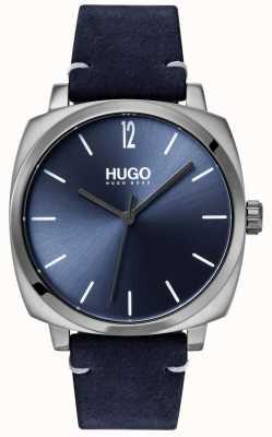 HUGO #own | niebieski skórzany pasek | niebieska tarcza 1530069