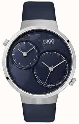 HUGO #travel | niebieski skórzany pasek | niebieska tarcza 1530053
