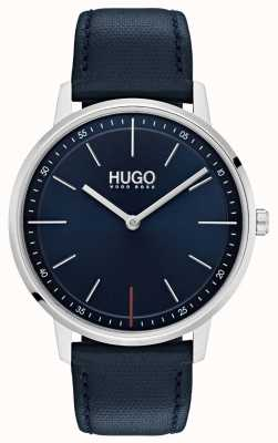 HUGO #exist | niebieski skórzany pasek | niebieska tarcza 1520008