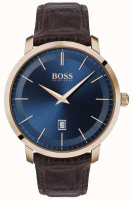 BOSS | klasyka męska premium | brązowy skórzany pasek | niebieska tarcza | 1513745
