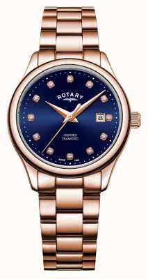 Rotary | oxford dla kobiet | platerowane złotem pvd | niebieska tarcza słoneczna | LB05096/05/D