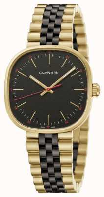 Calvin Klein | męskie | wprost | dwukolorowa bransoletka | czarna tarcza | K9Q125Z1