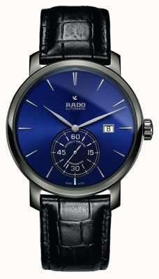 Rado Zegarek XL Diamaster Petite Seconde Czarny skórzany niebieski z niebieską tarczą R14053206