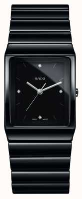 Rado Kwadratowy zegarek ceramiczny z ceramiczną bransoletą z diamentami R21700702