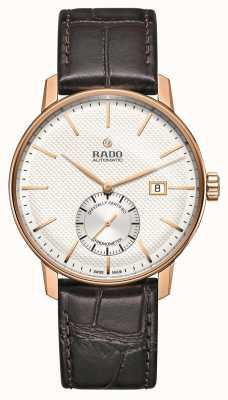 Rado Klasyczny automatyczny zegarek z brązowym skórzanym paskiem typu coupole R22881025