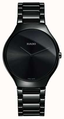 RADO Prawdziwie cienki, zaawansowany technologicznie ceramiczny czarny zegarek z tarczą R27741182