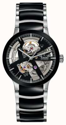 RADO Automatyczny czarny ceramiczny zegarek Centrix z otwartym sercem R30178152