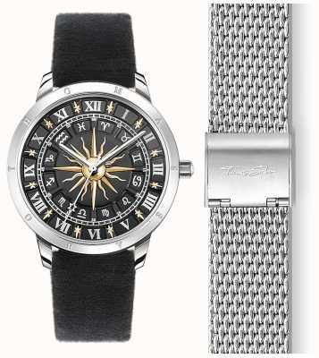 Thomas Sabo | damski zegarek przeciwsłoneczny | czarny aksamitny pasek | czarna tarcza przeciwsłoneczna 3d SET_WA0351-217-203-33