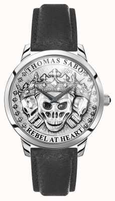 Thomas Sabo | buntownik męski duch czaszki 3d | czarny skórzany pasek | WA0355-203-201-42